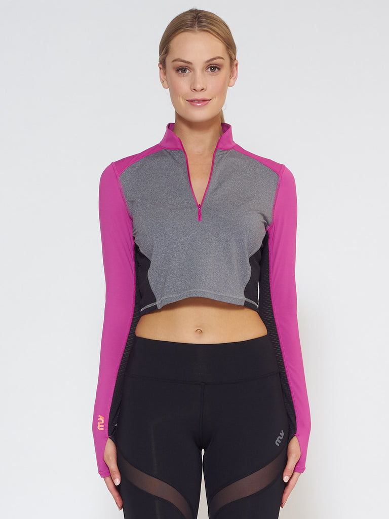 MUV Sportswear_BREEZE Long-Sleeve Collared Crop_Colour Wild Purple_UV Protecting Sportswear