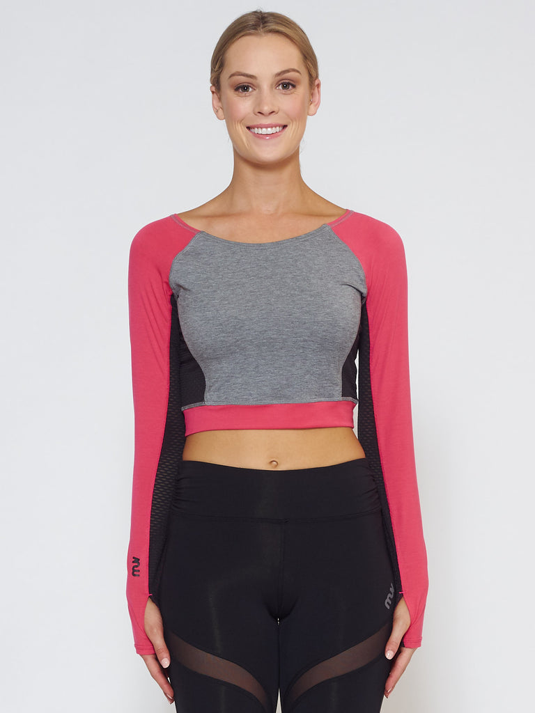 MUV Sportswear_VENT Long-Sleeve Crop_Colour Azalea_UV Protecting Sportswear