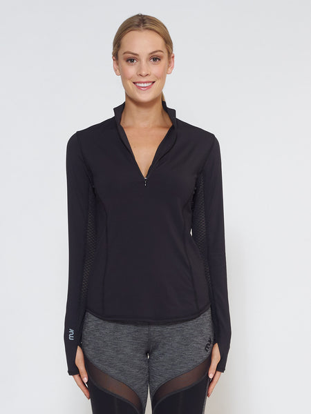 MUV Sportswear_LIQUID Long-Sleeve Collared Shirt_Colour Black_UV Protecting Sportswear
