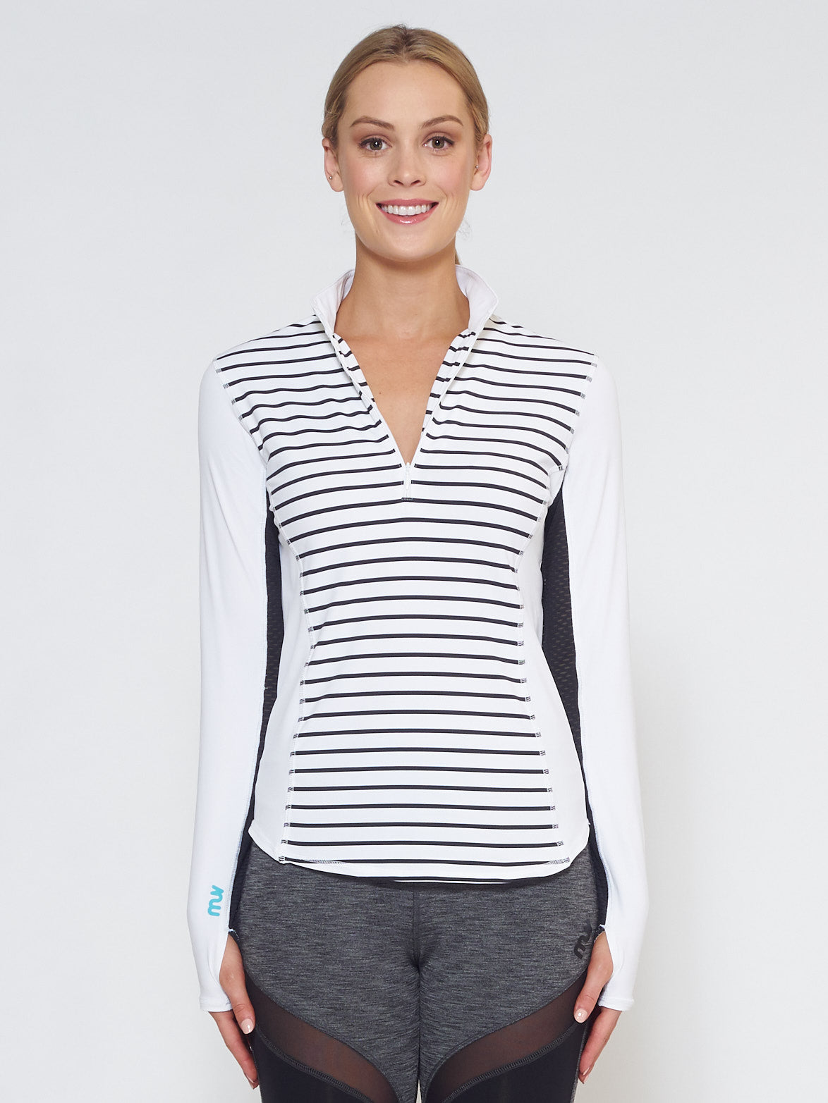 MUV Sportswear_LIQUID Long-Sleeve Collared Shirt_Colour Stripe_UV Protecting Sportswear