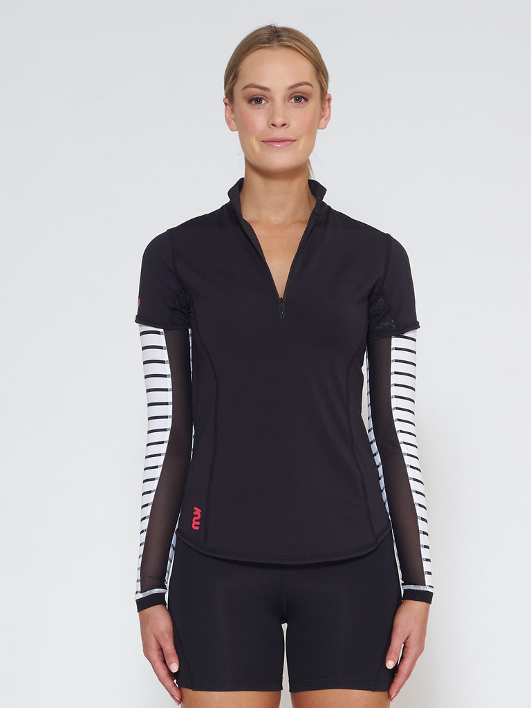 MUV Sportswear_VAPOUR Short-Sleeve Collared Top_Colour Black_UV Protecting Sportswear