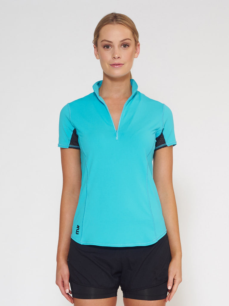 MUV Sportswear_VAPOUR Short-Sleeve Collared Top_Colour Scuba Blue_UV Protecting Sportswear