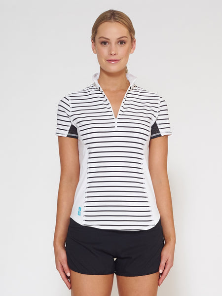 MUV Sportswear_VAPOUR Short-Sleeve Collared Top_Colour Stripe_UV Protecting Sportswear