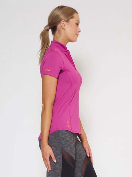 MUV Sportswear_VAPOUR Short-Sleeve Collared Top_Colour Wild Purple_UV Protecting Sportswear