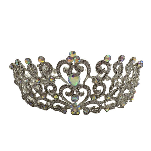 Full Crown Tiara Antique Silver