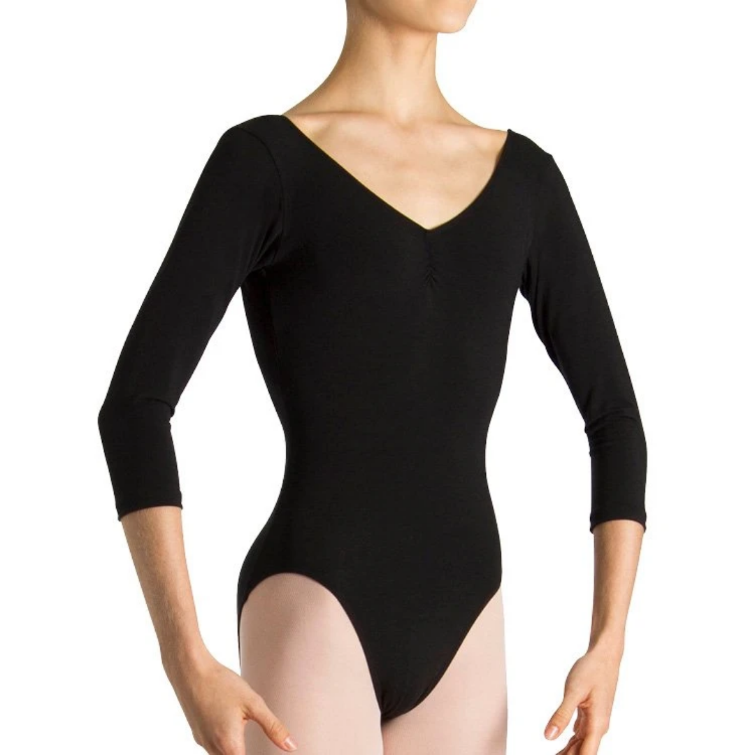 Bloch Page Gathered Front 3/4 Sleeve Womens Leotard