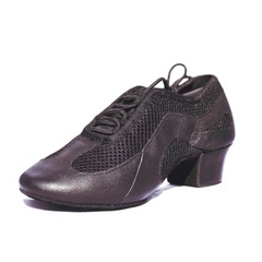 S902 Ladies Black Leather & Mesh Split Sole Low Cuban Heel Practice Dance Shoes