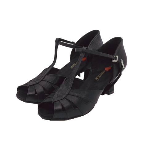 S230B Ladies Peep Satin Toe T-Bar Dance Sandal
