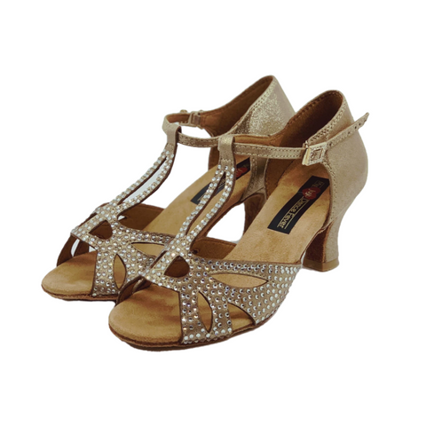 S203G Ladies Rhinestone T-Bar Peep Toe Dance Sandal