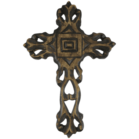 12 Inch Hand Carved Wooden Wall Cross