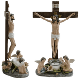 14.5 Angels at Jesus on Crucifix with Candle Religious Catholic Figurine