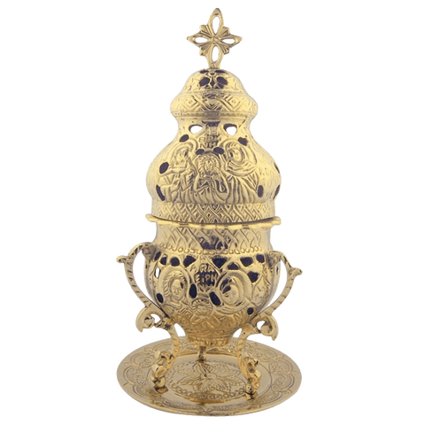 Engraved High Polished Brass 10 Inch Standing Incense Burner for Church or Home