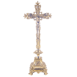 Jesus Christ Cross Polished Solid Brass Standing Crucifix for Church Sanctuary