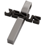 MEN Set Black and Silver JESUS Cross Stainless Steel Pendant
