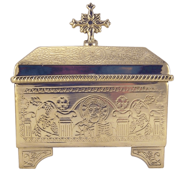 Sacred Vessel Container 4 3-4 Inch High Polished Brass Holy Communion Bread Box