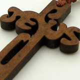 Wood 8mm Square Prayer Bead 18 1-2 Cord Rosary with 2 Jesus Cross