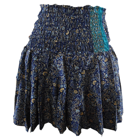Coline Blue Floral Mini Floaty Skirt. One Size