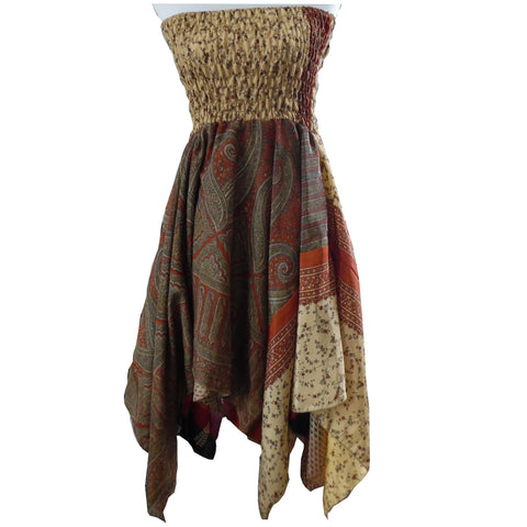 Fairtrade Burnt Autumn Brown, Cream and Orange Patterned Sari Silk Dress/Skirt. One Size