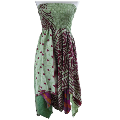 Fairtrade Sari Silk Lime Green and Maroon Patterened Sari Silk Dress/ Skirt. One Size