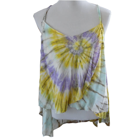 Yellow, Purple and White Floaty Long Back Double Strap Top