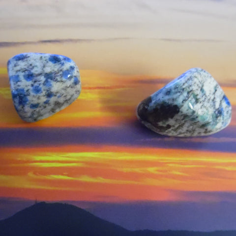 Polished K2 (Afghanite or Azurite in Granite) Crystals. Two To Choose From