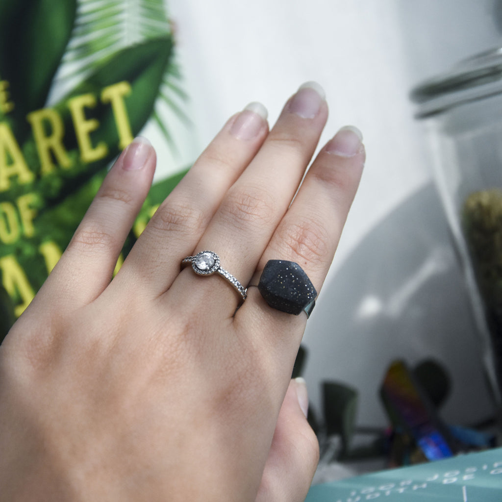 Black Sparkle Faceted Ring