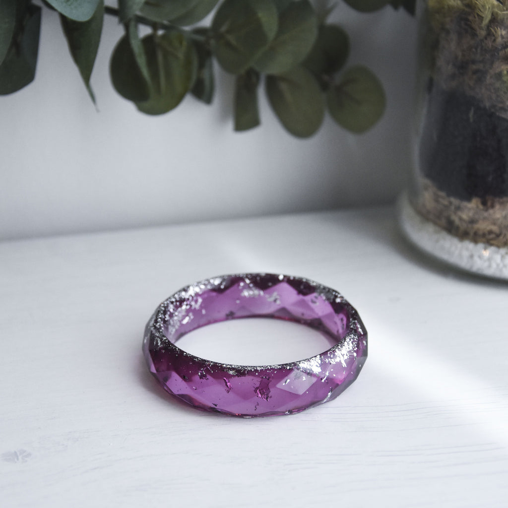 Charlotte Faceted Bangle - Garnet