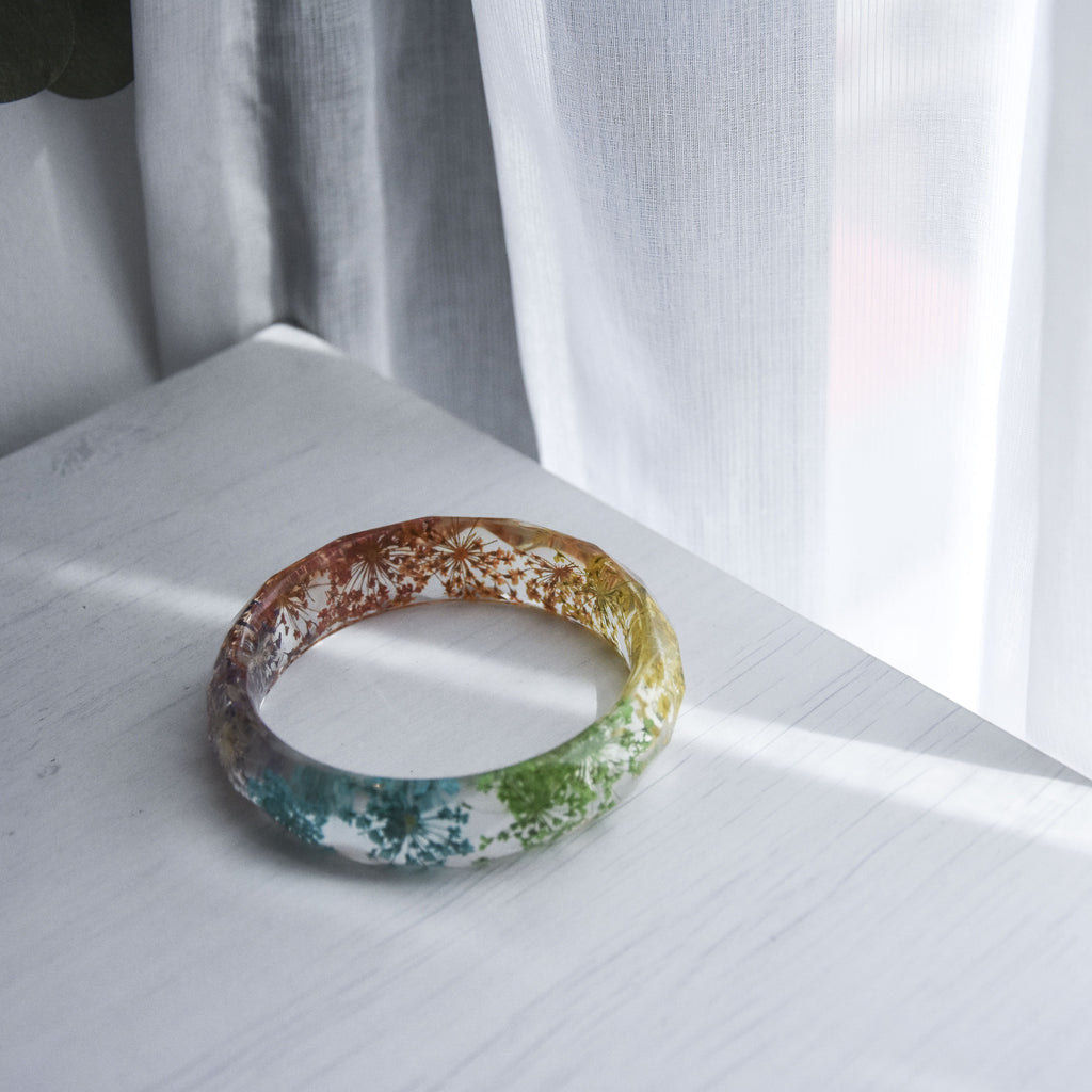 Charlotte Faceted Bangle - Rainbow