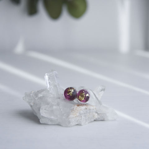 Hailey Post Ear Studs - Garnet