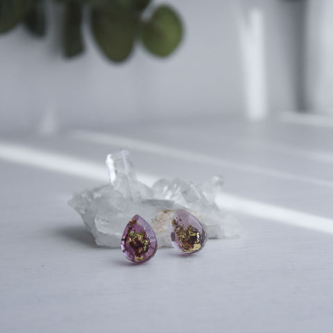 Hailey Post Teardrop Ear Studs - Garnet