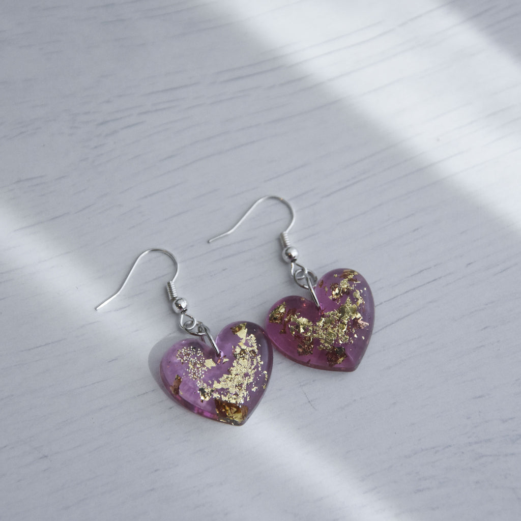 Arianna Heart Faceted Earrings - Garnet