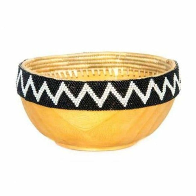 Black + White Beaded Wooden Bowl II