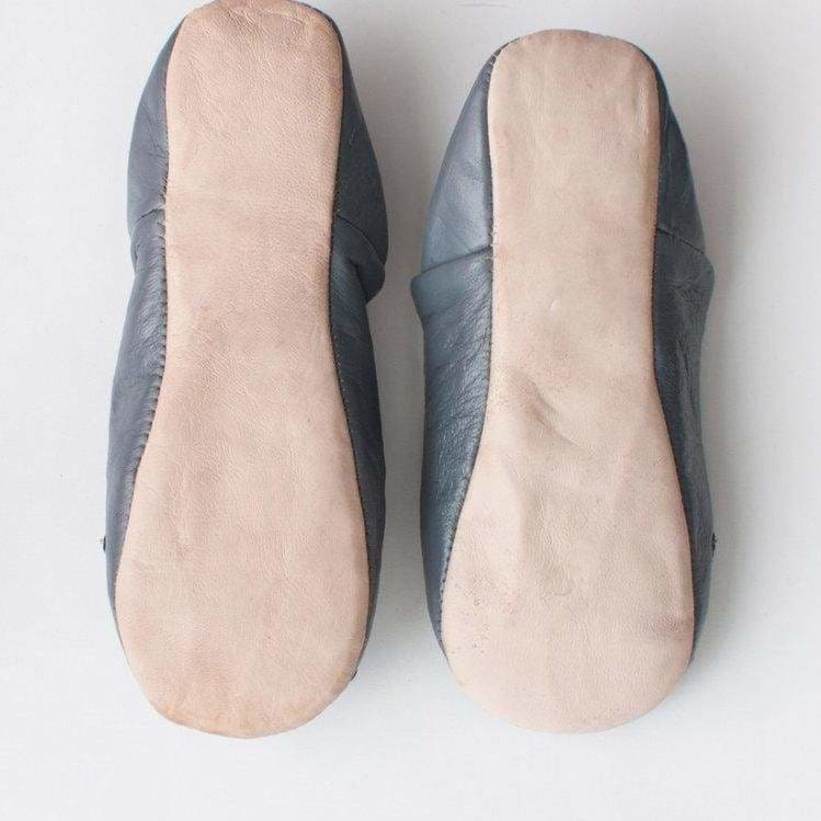 Moroccan Babouche Slippers - Slate - Pink Pig
