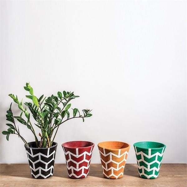 Colorfull Terracotta Flower Pots - Pink Pig
