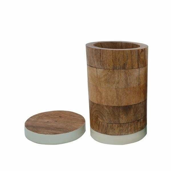 White Mango Wood Canister - Pink Pig