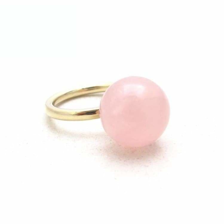 Jacqueline Rose Quartz Globe Ring -