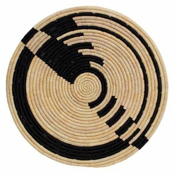 Kazi Goods Abstract Black Raffia Plate - Pink Pig