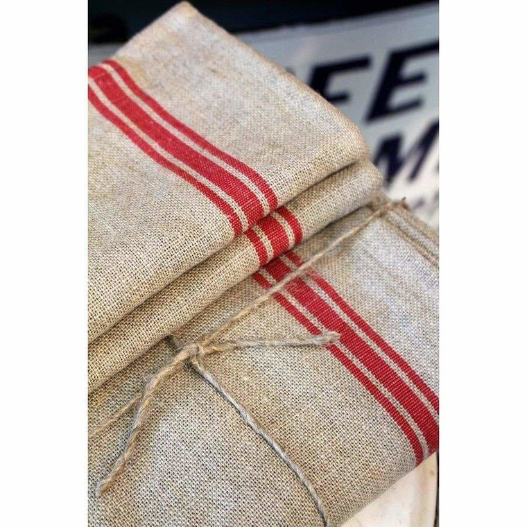 Thieffry Red Stripe Linen Napkins