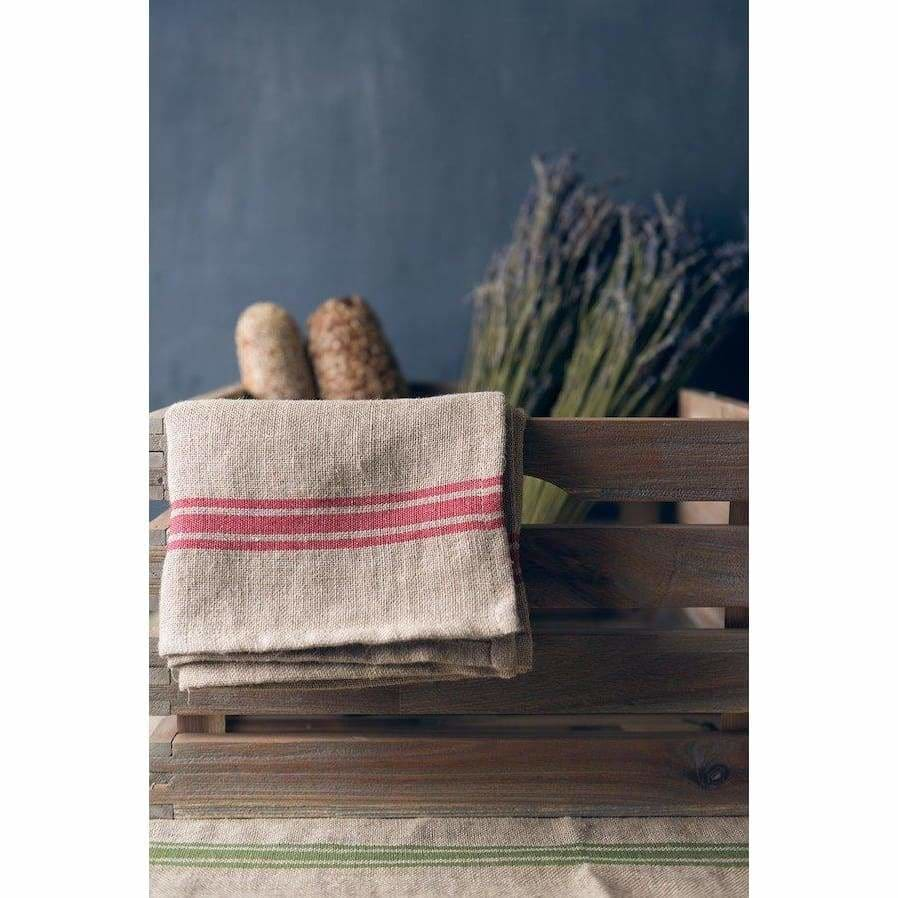 Thieffry Red Stripe Linen Napkins - Pink Pig