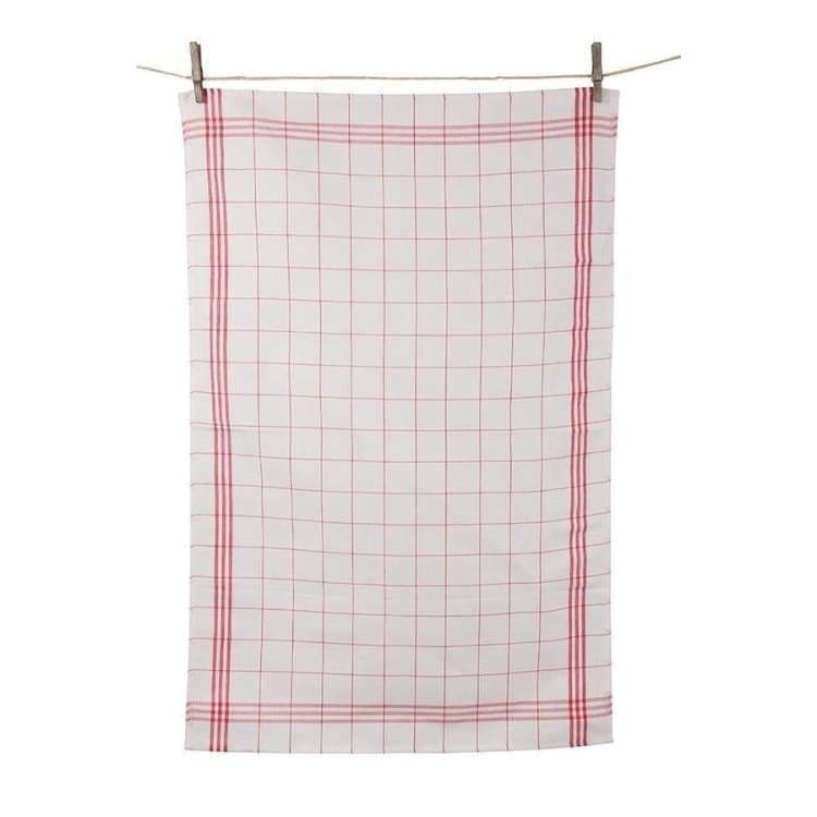 Tissage de L'Quest Red Window Plaid Towel - Pink Pig