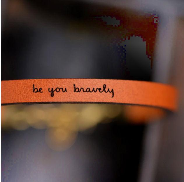 Be You Bravely Leather Bracelet - Pink Pig
