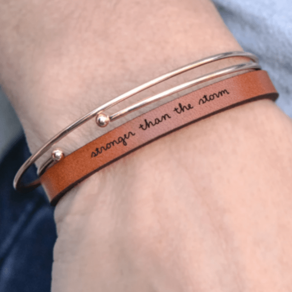 Stronger Than The Storm Leather Bracelet - Pink Pig