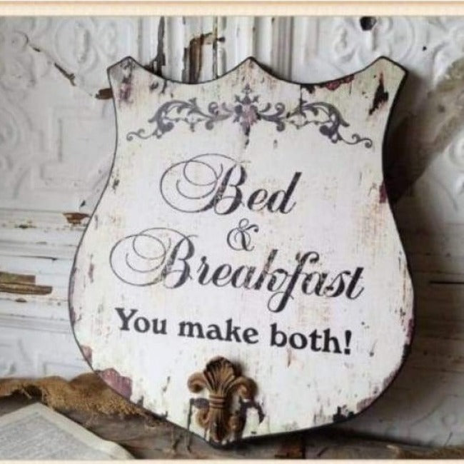 Vintage Style Bed & Breakfast Sign - Pink Pig