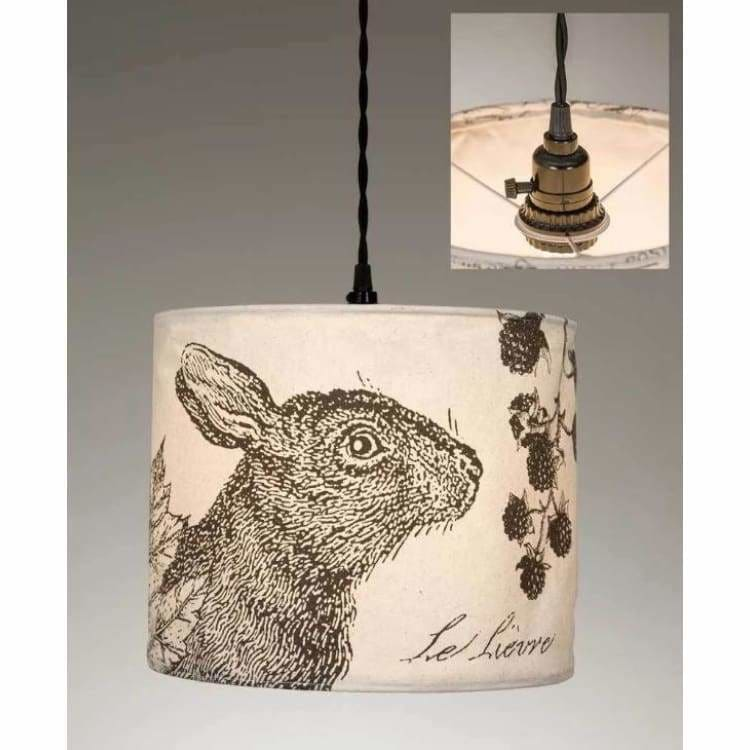 Rabbit Canvas Pendant Light - Pink Pig
