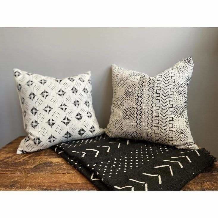 African Mud Cloth Pillow - Geometric