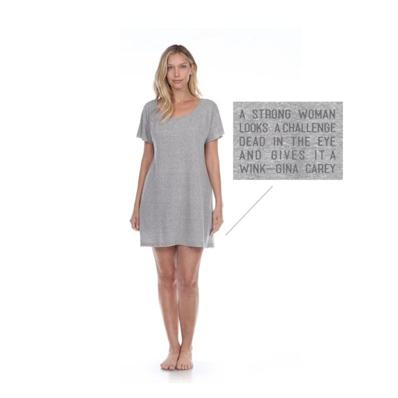 Poetically Correct Grey Short Cotton Dress - Pink Pig