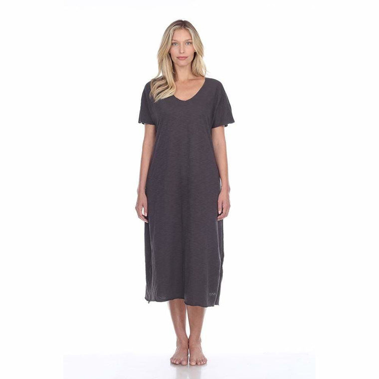 Long Luxurious Chelsea 100% Pima Cotton Slub Grey Sleep Dress