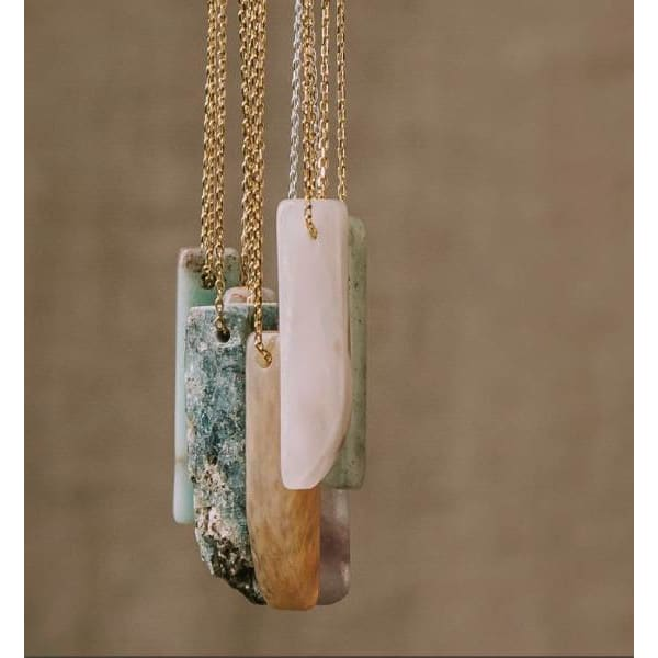 Amazonite Stone Point Necklace - Pink Pig