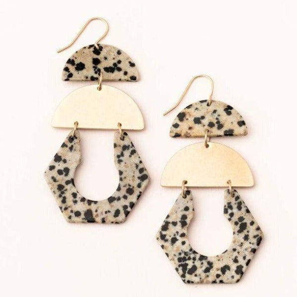 Dalmatian Jasper Gold Cut Out Earrings - Pink Pig