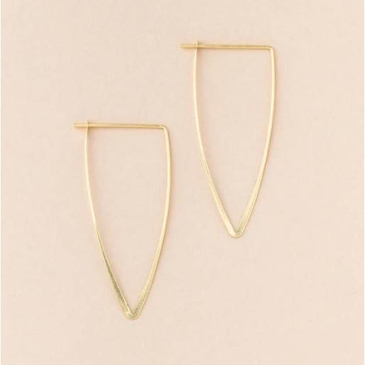 Gold Triangle Minimalistic Hoops - Pink Pig
